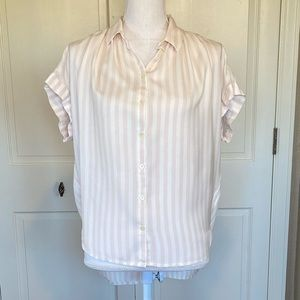 Madewell Pink & White Stripe Button Down Top